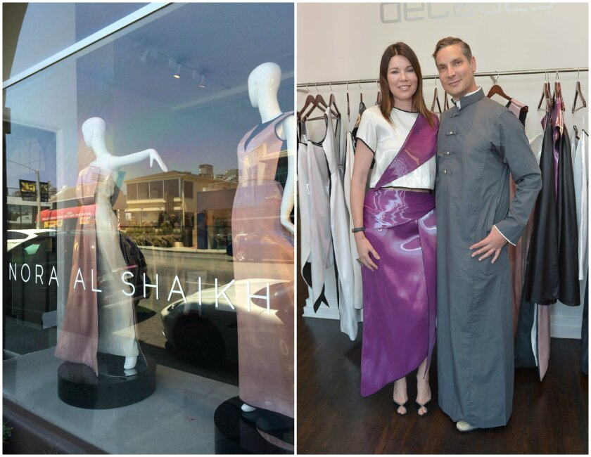 A Decades store window display at left is all about Nora Al Shaikh. The boutique's Cameron Silver, shown with stylist Tanya Gill, co-hosted a tea party for the Saudi designer.