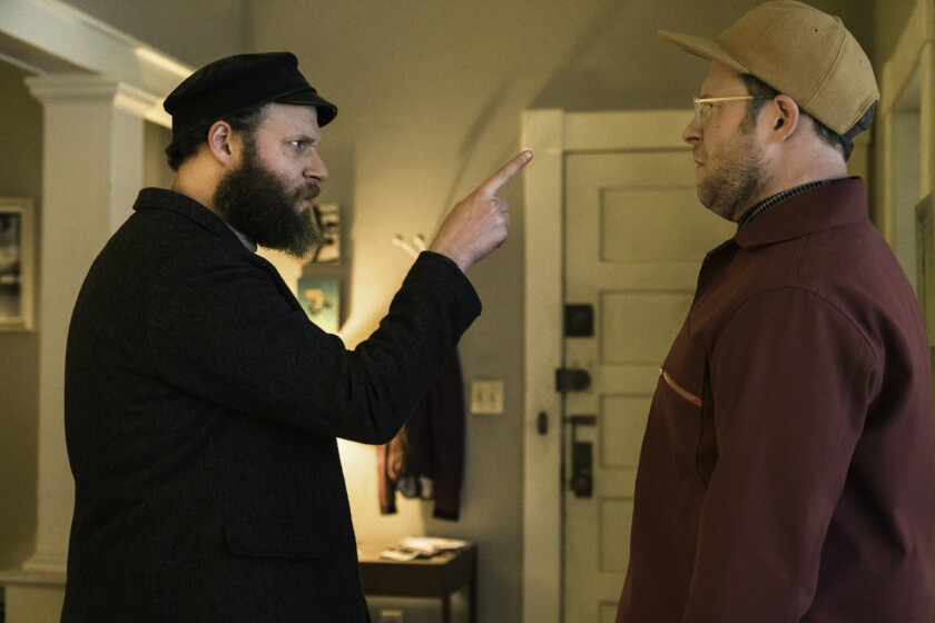 "Seth Rogen plays Herschel, left, and Ben in ""An American Pickle."""
