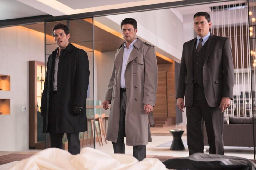 "James Marsden, left, Karl Urban and Wentworth Miller in ""The Loft."""