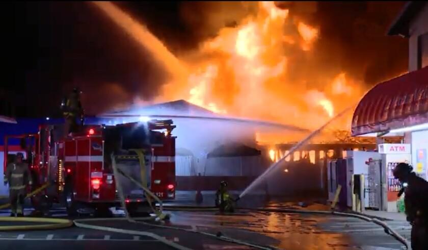 Crews fight fire in a Vista business