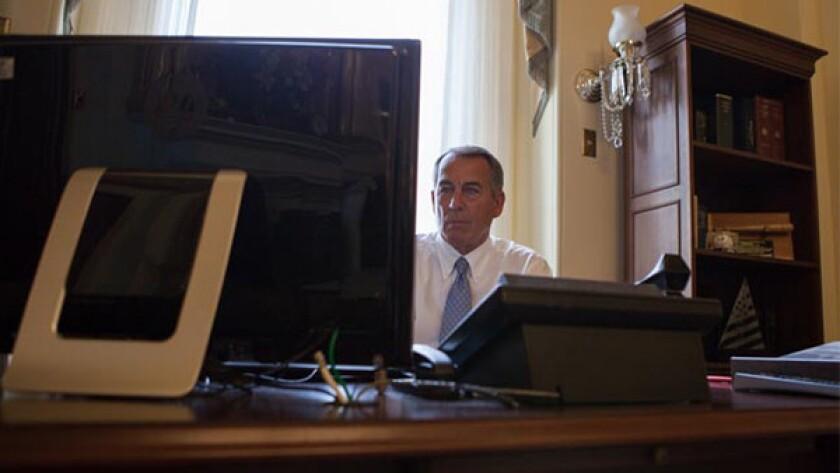 Speaker John Boehner, grappling with Obamacare.