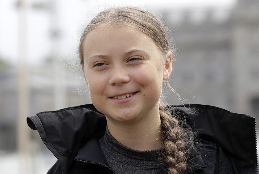 Climate change activist Greta Thunberg speaks a news conference in Plymouth, England, on Aug. 14.
