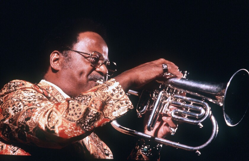Clark Terry performs during the Stockholm Jazz and Blues Festival in 1980.