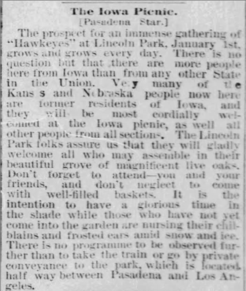 Dec. 24, 1886, Los Angeles Times preview of the first Iowa Picnic.