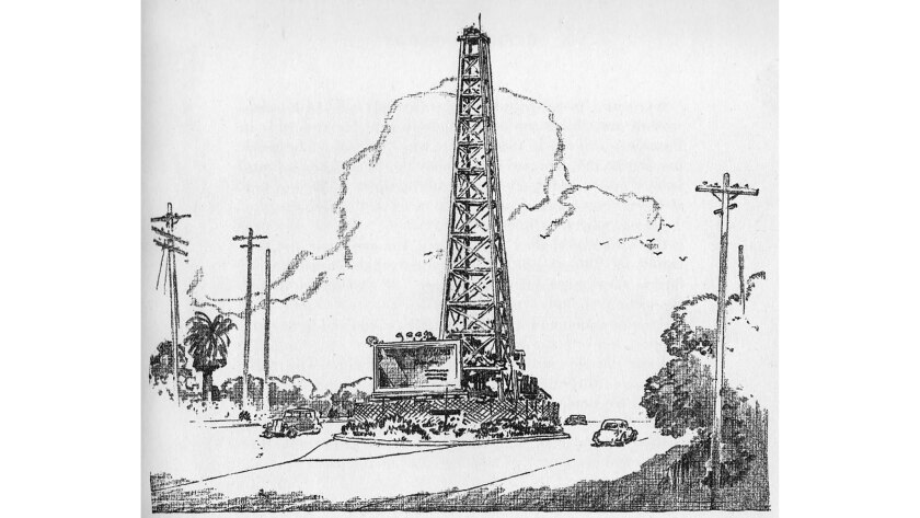 An oil well sat in the center divider of La Cienega Boulevard from 1927 to 1945.