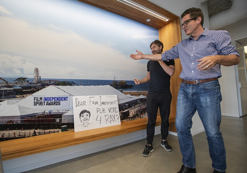 Mark Duplass with Film Independent President Josh Welsh inside the organization's offices.