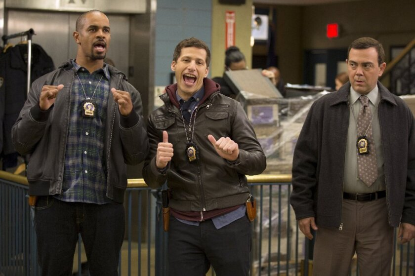 "Damon Wayans Jr., left, Andy Samberg and Joe Lo Truglio in ""Brooklyn Nine-Nine"""