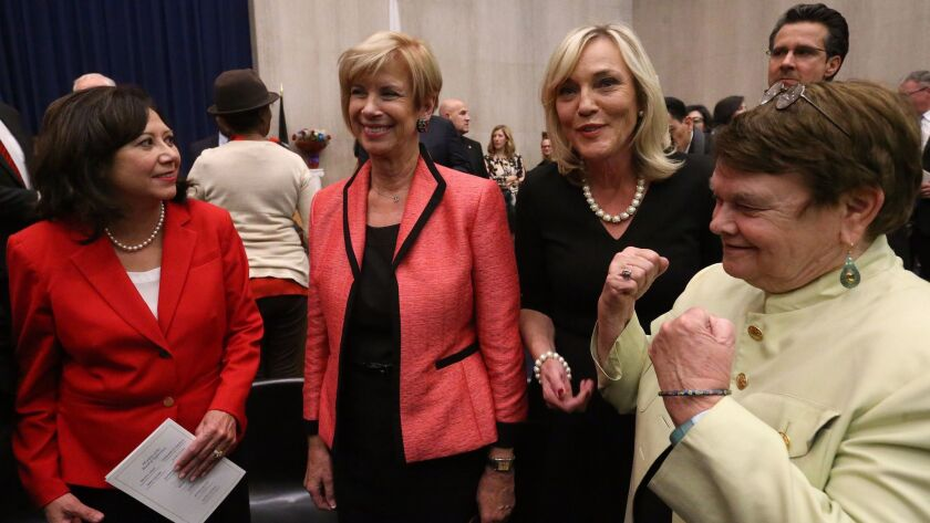 Los Angeles supervisors Hilda Solis, Janice Hahn, Kathryn Barger and Sheila Kuehl after Barger was sworn in to the Los Angeles County Board of Supervisors in 2016.