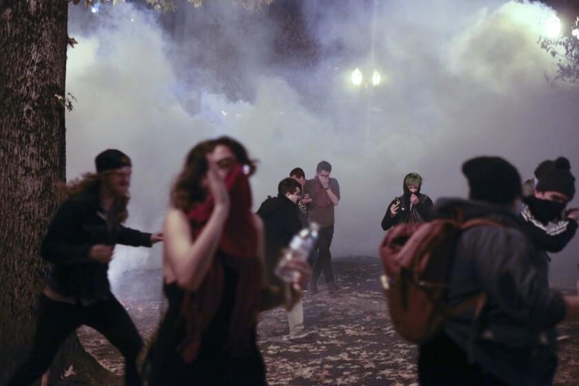 Donald Trump protest tear gas