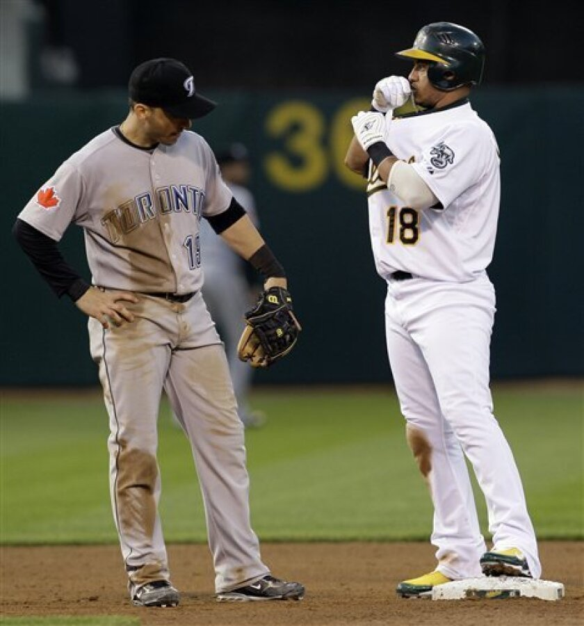 Oakland Athletics' Orlando Cabrera, right, kisses his necklace as Toronto Blue Jays shortstop Marco Scutaro, left, looks on after Cabrera hit an RBI double in the second inning of a baseball game Friday, May 8, 2009, in Oakland, Calif. (AP Photo/Ben Margot)