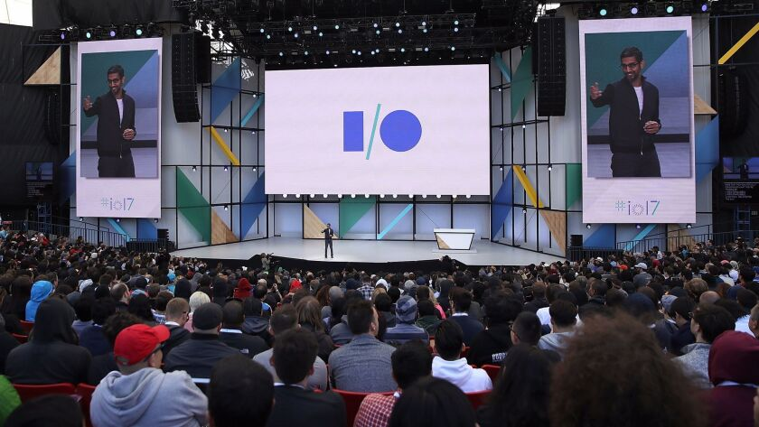 Google CEO Sundar Pichai delivers the keynote address Wednesday at the Google I/O conference in Mountain View, Calif. On Thursday, a fire erupted at the venue.
