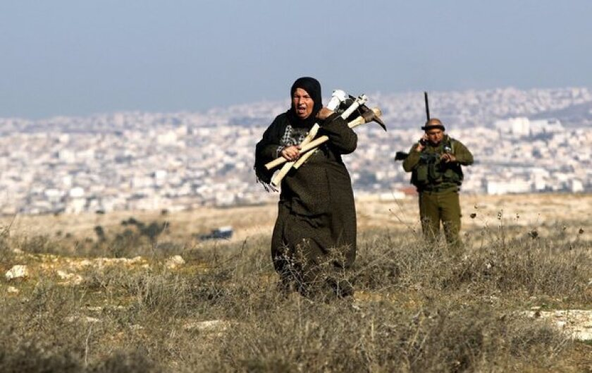 Israeli soldiers evict Palestinians trying to farm lands outside the Israeli settlement of Sosia, in the southern West Bank, in 2012.