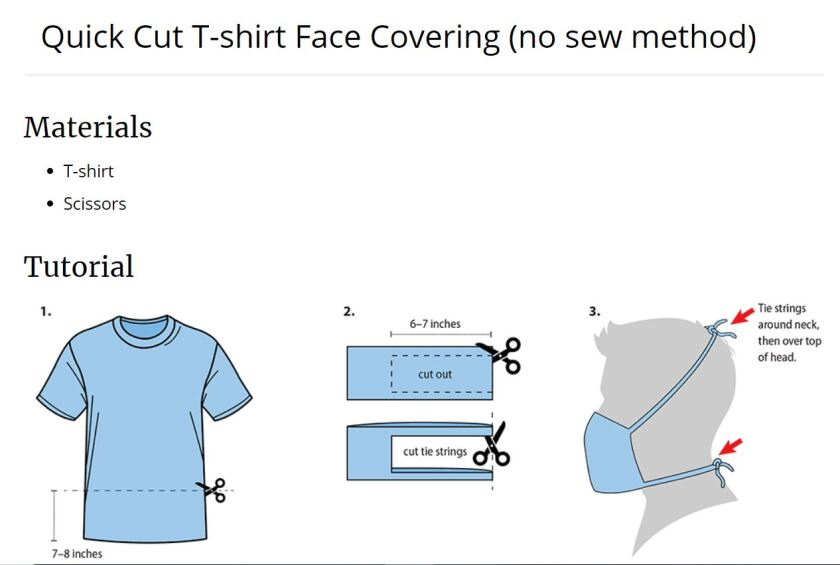 CDC Quick Cut T-shirt Face Covering (no sew method)