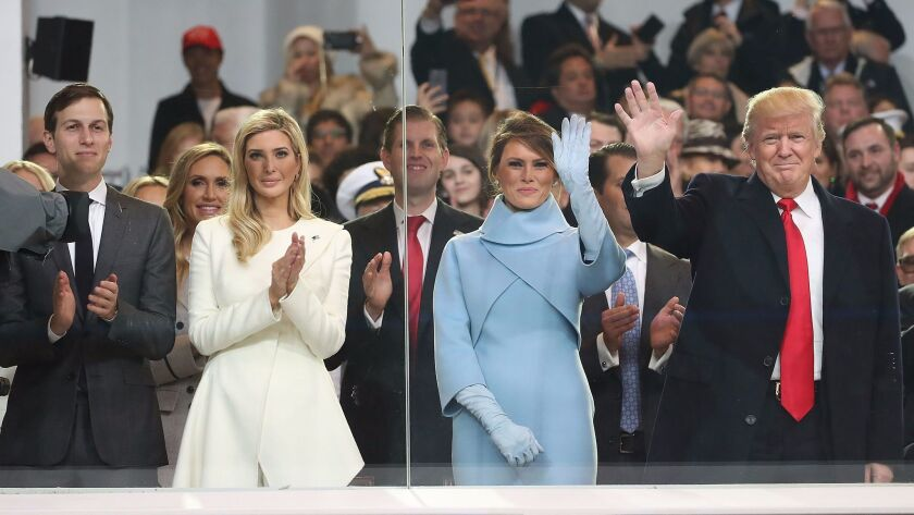 President Trump with the first lady and his daughter Ivanka and her husband, Jared Kushner, at the inauguration on Jan. 20.