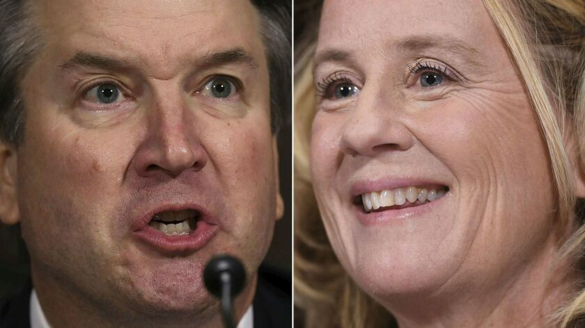 Brett Kavanaugh, left, and Christine Blasey Ford at their respective Senate Judiciary Committee appearances on Sept. 27.