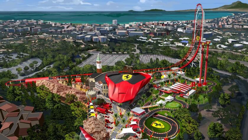 Concept art shows an aerial view of Ferrari Land at Spain's PortAventura.