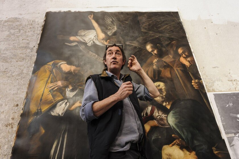 """Adam Lowe of Factum Arte digital restoration laboratory has spent two years recreating Caravaggio's """"The Nativity with St. Francis and St. Lawrence."""""""
