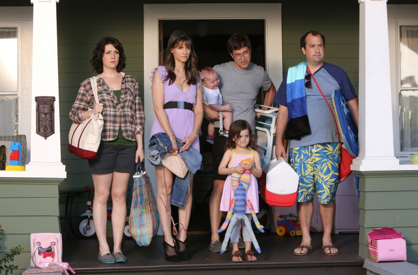 "In HBO's new comedy ""Togetherness"" are Melanie Lynskey, left, Amanda Peet, Mark Duplass, Abby Ryder Fortson and Steve Zissis."