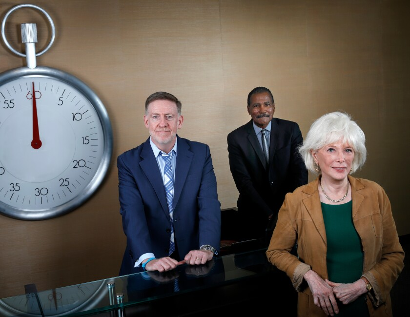 """60 Minutes"" executive producer Bill Owens with correspondents Bill Whitaker and Lesley Stahl at the program's offices in New York."