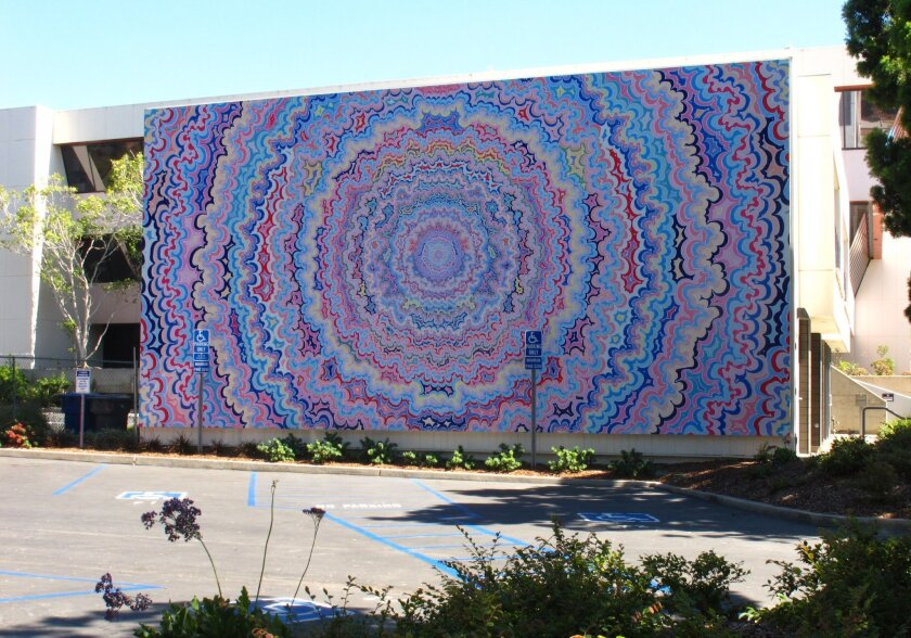 "Kelsey Brookes' ""One Pointed Attention"" has been blown up to mural size for La Jolla project. Photo: Roy Porello"