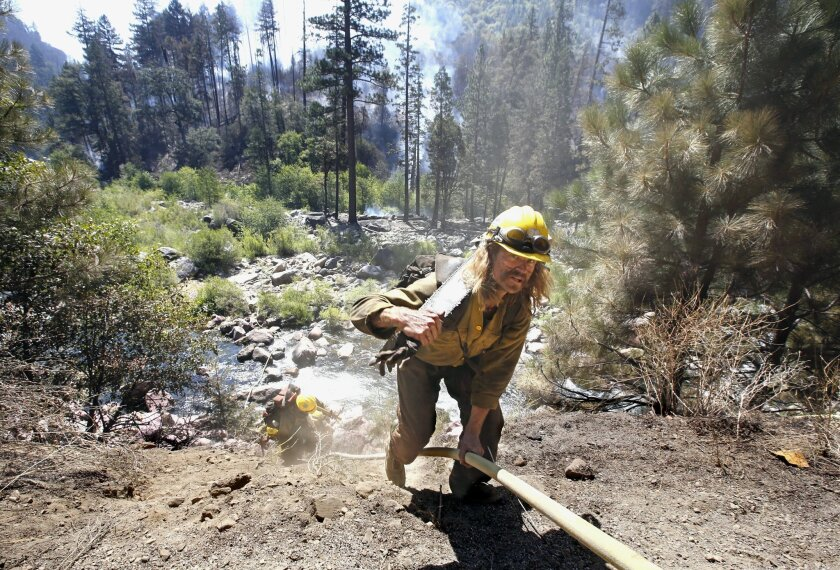 A chainsaw-toting firefighter climbs up the embankment of the South Fork of the American River, at the Kyburz fire near Kyburz, Calif., Friday, July 24, 2015. Crews on Friday had partially surrounded the fire that shut down a highway linking Sacramento and Reno, Nevada, and led to a handful of evacuations. The blaze broke out Thursday afternoon near South Lake Tahoe and has charred more than 100 acres in heavy timber along steep canyon walls. (AP Photo/Rich Pedroncelli)