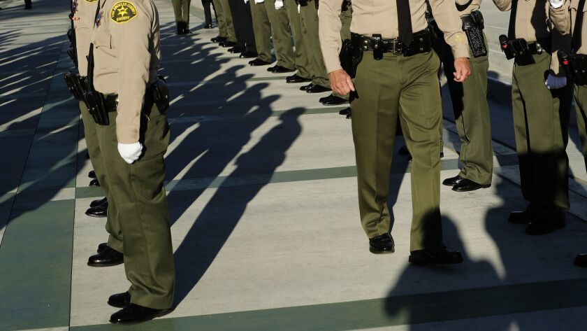 LOS ANGELES, CA-OCTOBER 27, 2017: Los Angeles County Sheriffs deputies stand at attention during th
