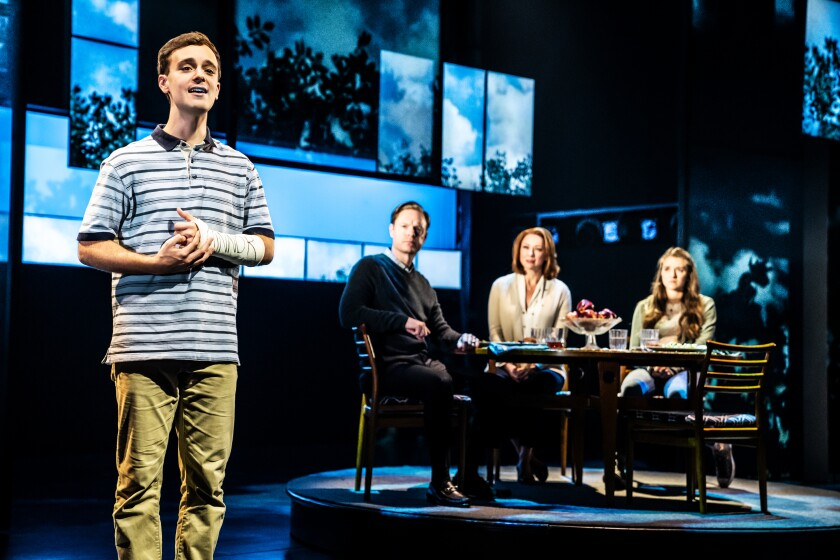 "Stephen Christopher Anthony (left) and the cast of the touring ""Dear Evan Hansen."""