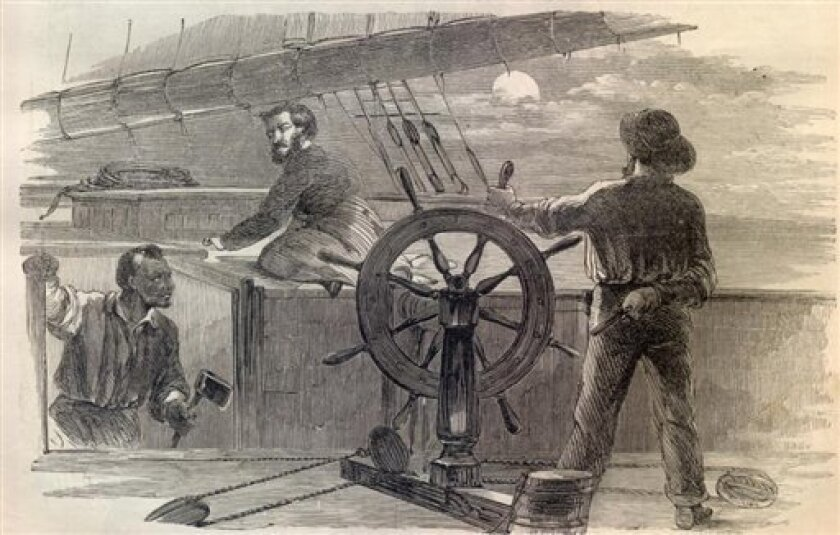 A line engraving published in Harper's Weekly, 1861, and provided by the US Navy's Naval History & Heritage Command depicts the recapture of the schooner S.J. Waring by William Tillman, left, who some say is one of the black heros of the Civil War. A pair of upstate New York-based documentary producers have included Tillman's story in their new film on the short-but-prolific wartime record of the brig Jefferson Davis, a Southern privateer that seized several Union ships in the opening months of the war. The documentary includes a re-enactment of Tillman's heroics following the capture of his ship by the Davis 150 years ago Thursday, July 7, 2011, about 150 miles off Sandy Hook, N.J. (AP Photo/US Navy's Naval History & Heritage Command via Harpers Weekly)