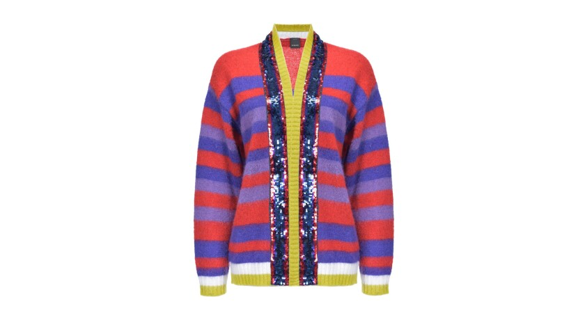 Pinko A vibrant violet, red and yellow mohair-blend striped sequined cardigan from Italian designer