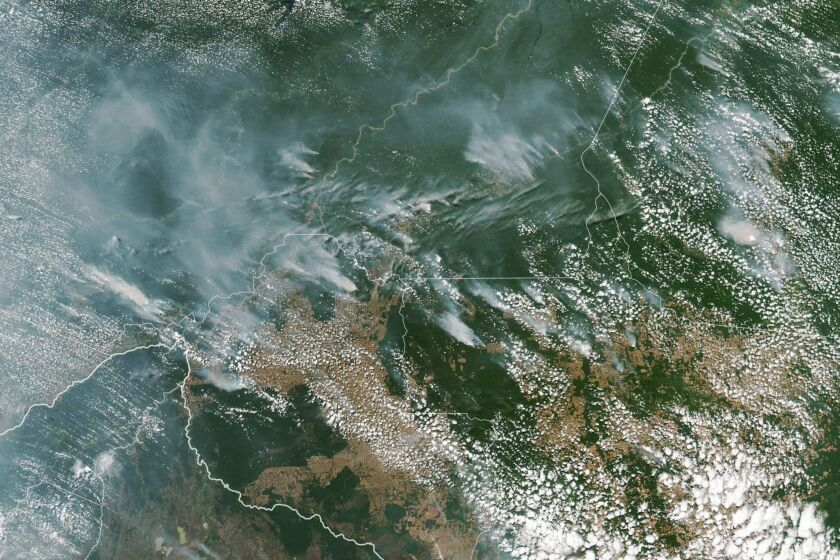 Multiple fires in the Amazon rainforest as seen from space