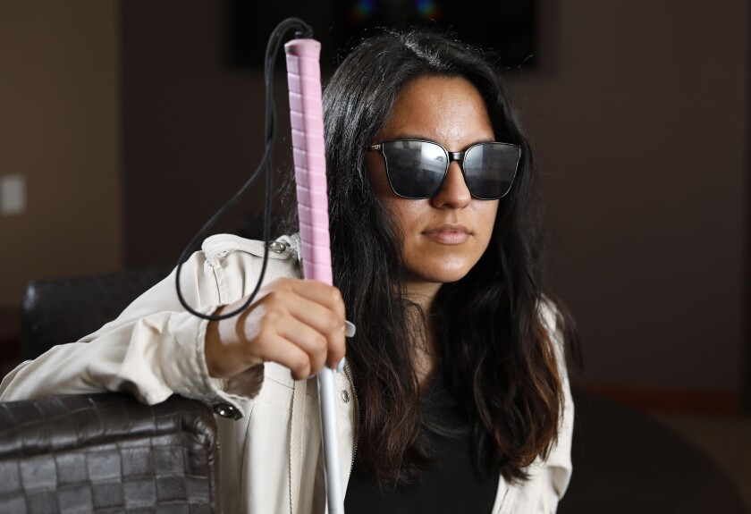 Tanya Suarez at the Braille Institute in La Jolla. In 2019, under the influence of meth, she pulled out her eyes.