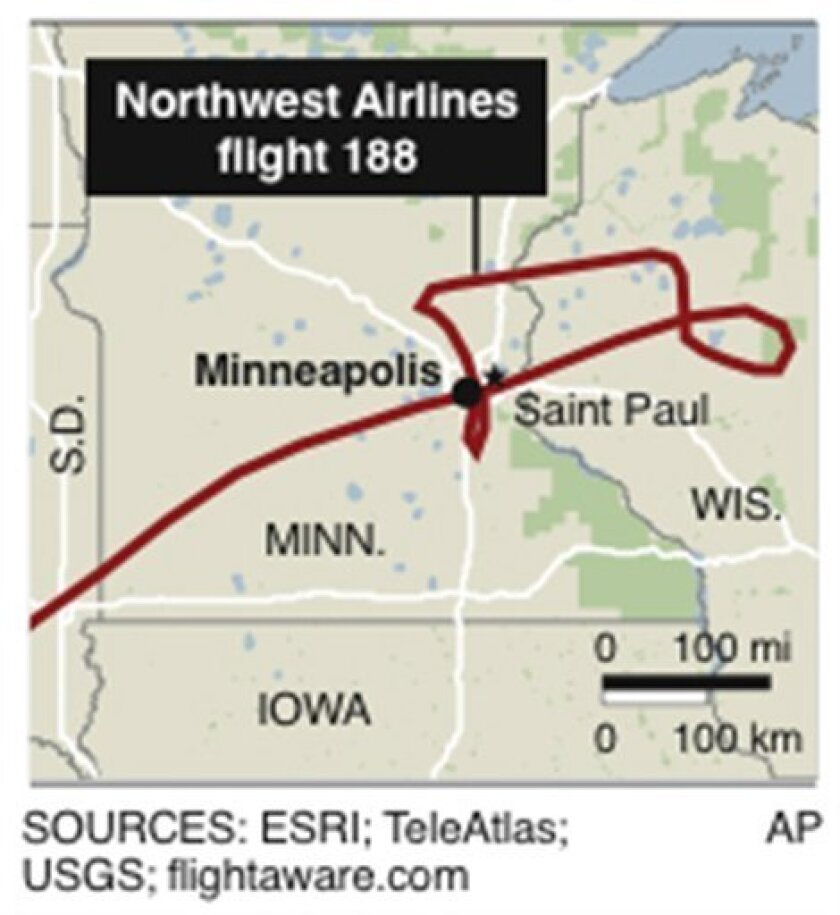 Graphic shows path of Northwest Airlines