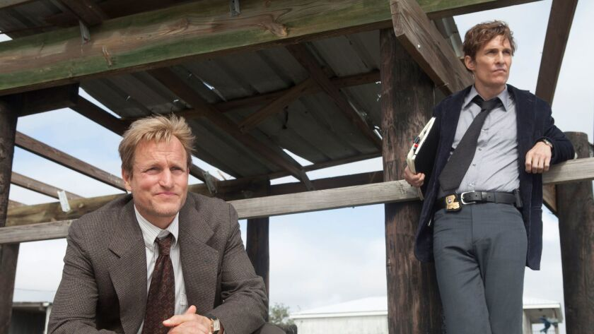 """Woody Harrelson, left, and Matthew McConaughey in a scene from """"True Detective."""""""