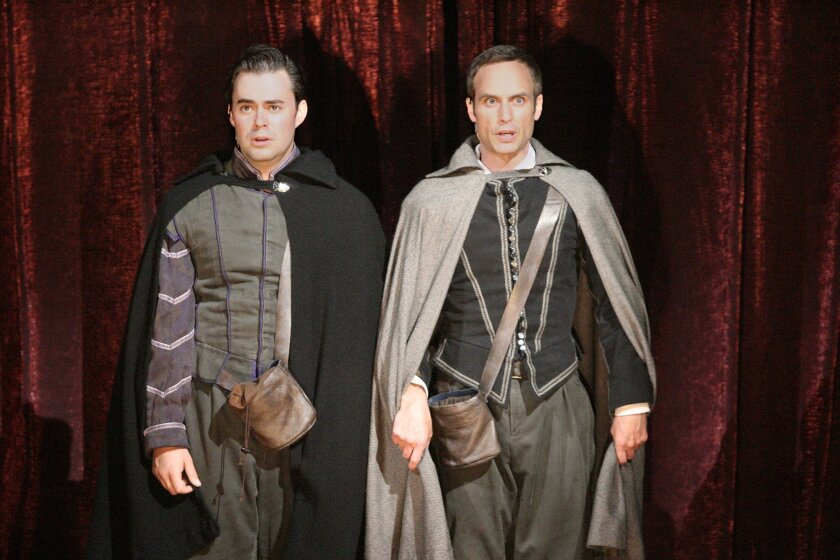 """John Lavelle (left) and Jay Whittaker in the Old Globe production of """"Rosencrantz and Guildenstern Are Dead."""""""