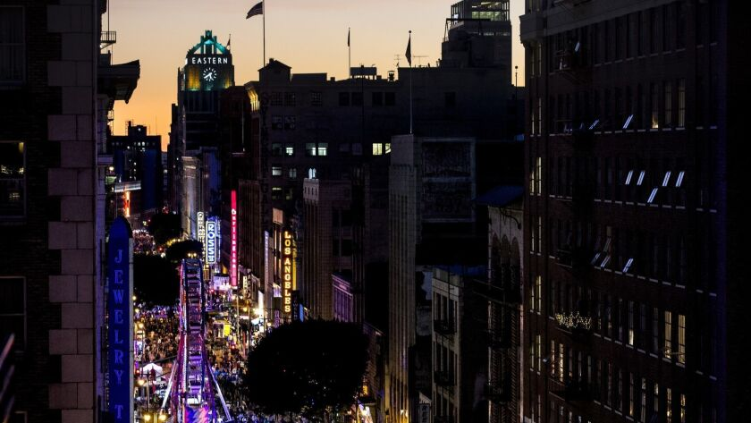 "LOS ANGELES, CA - JANUARY 27: People pack Broadway Ave. in Downtown Los Angeles for the 10th ""Night"