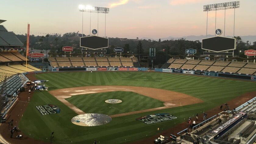 Dodger Stadium viewed on Thursday, Oct., 25, 2018, a day ahead of World Series Game 3 between the Lo