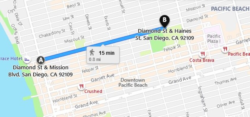 "Diamond Street is temporarily closed to through traffic between Mission Boulevard and Haines Street as a ""slow street."""