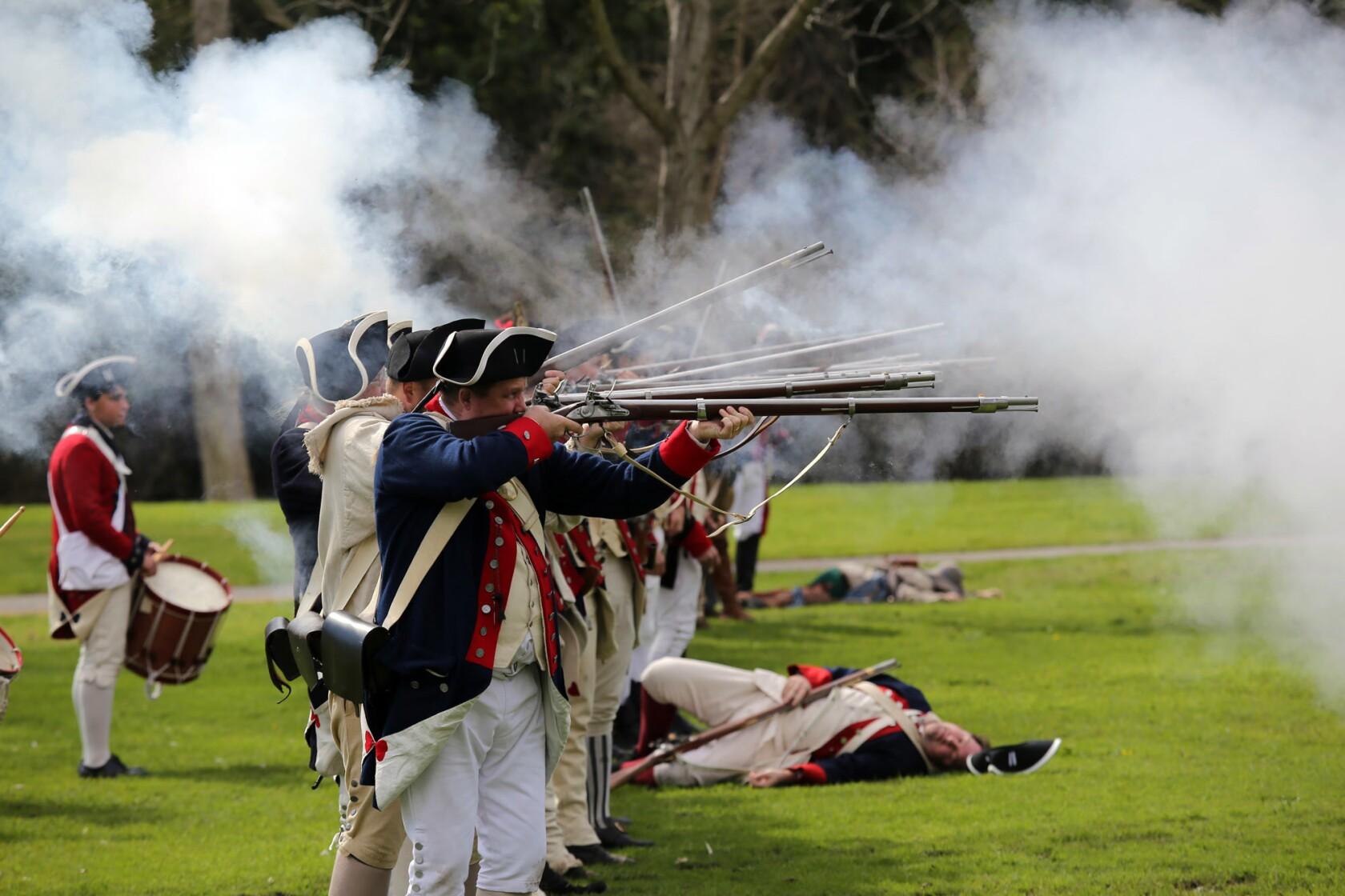 History buffs reenact Revolutionary War in Huntington Beach