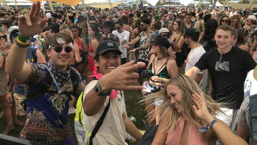 INDIO, CALIF. -- FRIDAY, APRIL 12, 2019: Festival goers head straight to the Do Lab during day one