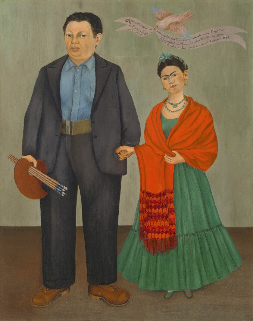 Diego Rivera and Frida Kahlo in a painting by Kahlo.