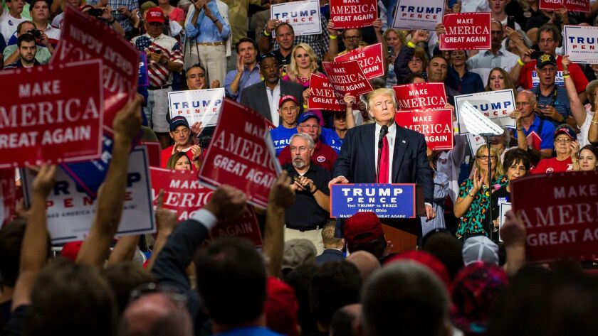 AKRON, OH - AUGUST 22: Republican Presidential candidate Donald Trump addresses supporters at the Ja
