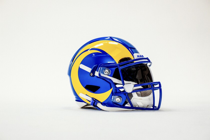 Shown is the Rams' new helmet for the 2020 season.