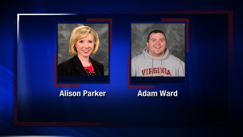 This undated photo provided by WDBJ-TV, in Roanoke, Va., shows station reporter Alison Parker, left, and cameraman Adam Ward. Ward and Parker were fatally shot on-air Wednesday, Aug. 26, 2015, by a former staffer in Moneta, Va. (WDBJ-TV via AP)