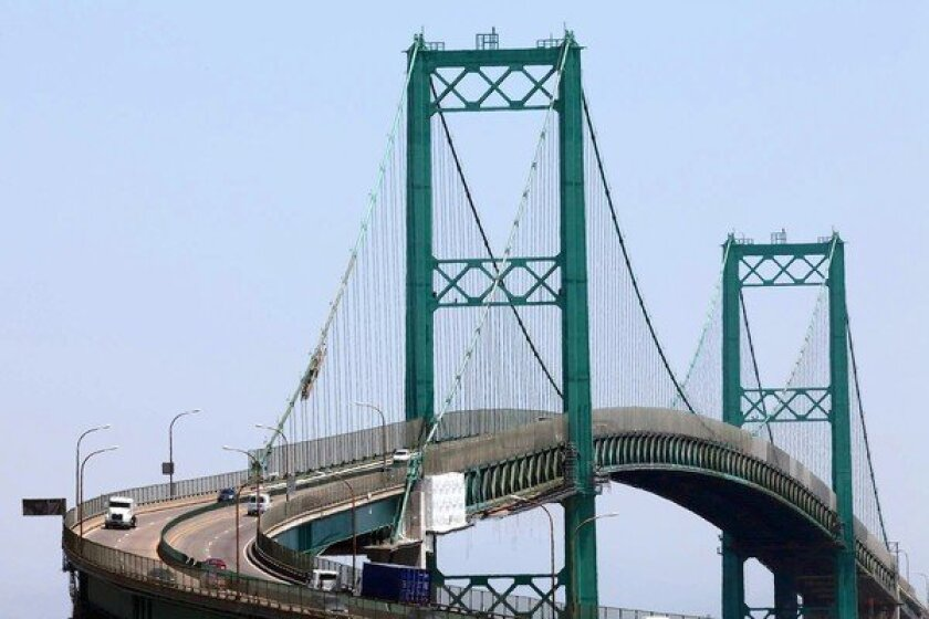 The Vincent Thomas Bridge in San Pedro is a familiar sight in films.