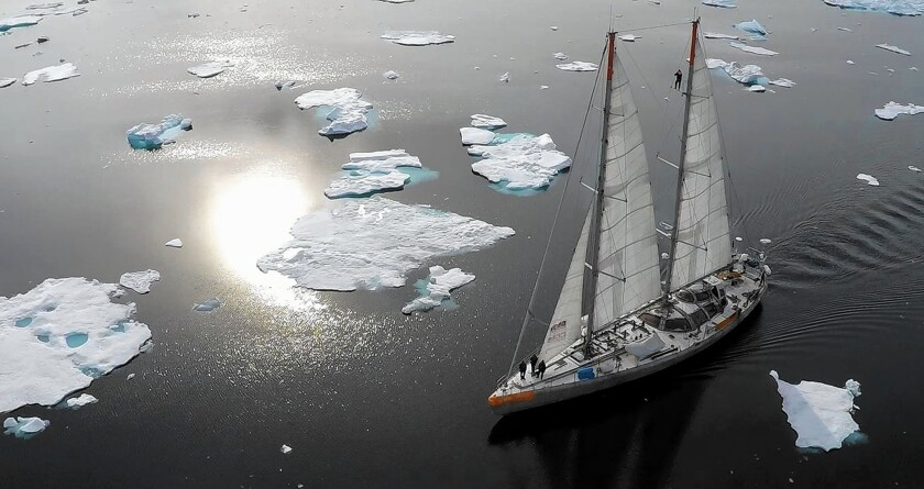 A scientific expedition to study climate change is seen on the eastern coast of Greenland.