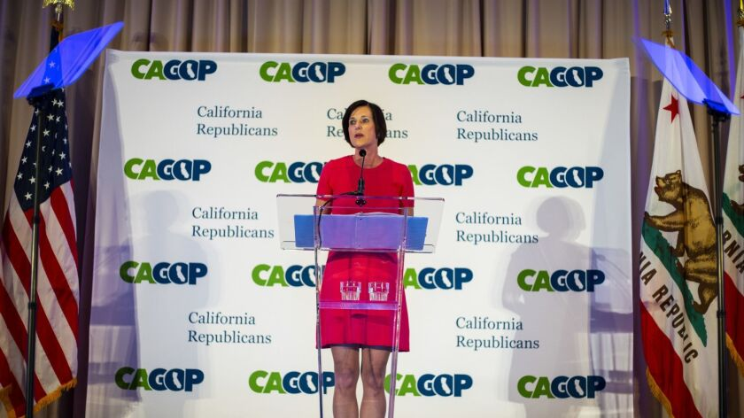 SAN DIEGO, CALIF. - MAY 04: Rep Mimi Walters speaks during the California Congressional Dinner durin
