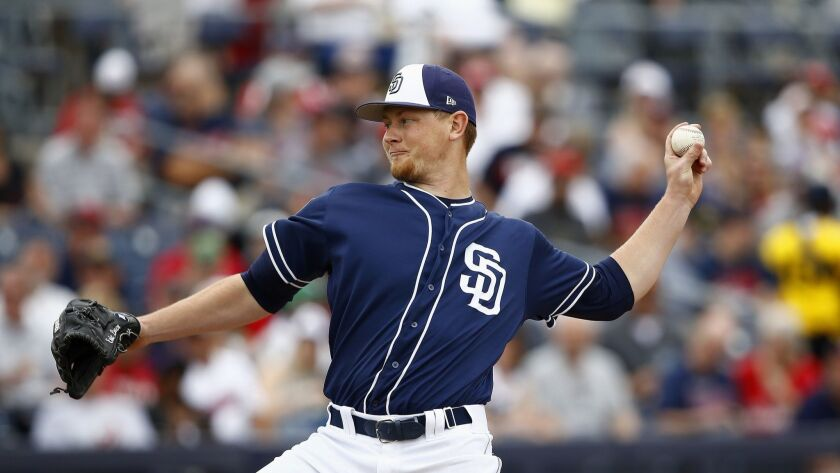 Padres left-hander Eric Lauer throws against the Cleveland Indians during the first inning of a spring training game last month in Peoria, Ariz.
