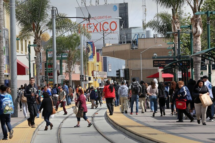 The end of the trolley line in San Ysidro sees constant pedestrian activity with people coming and going through the Port of Entry.