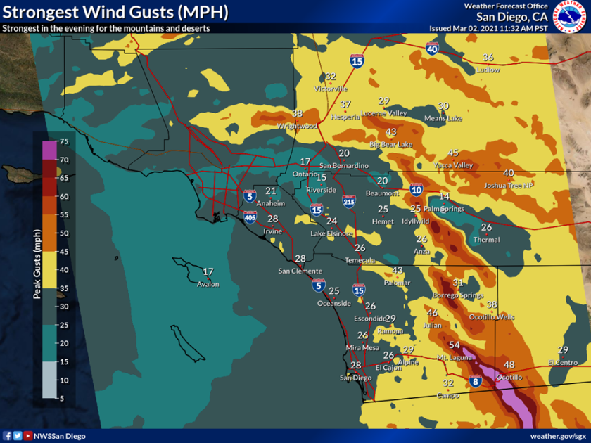 A North Pacific storm will hit San Diego County on Wednesday