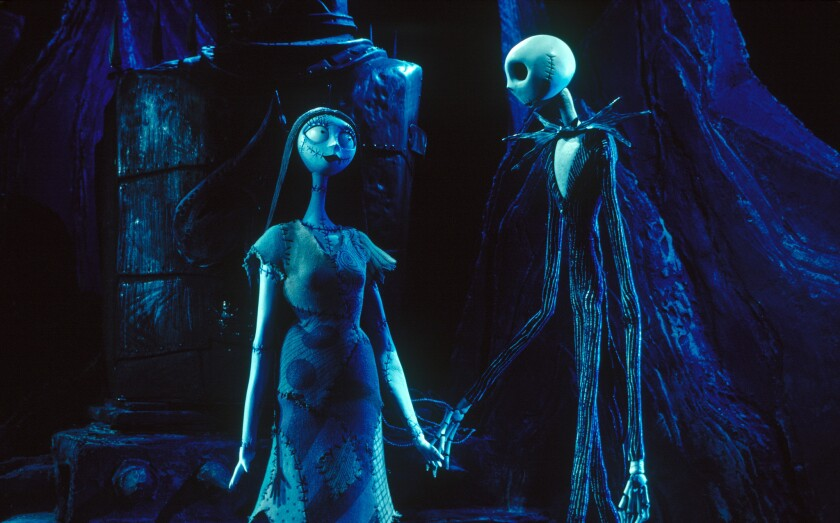 Sally and Jack in 'The Nightmare Before Christmas'